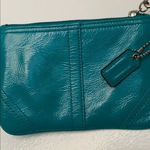 Coach Bags - Coach, teal leather wristlet